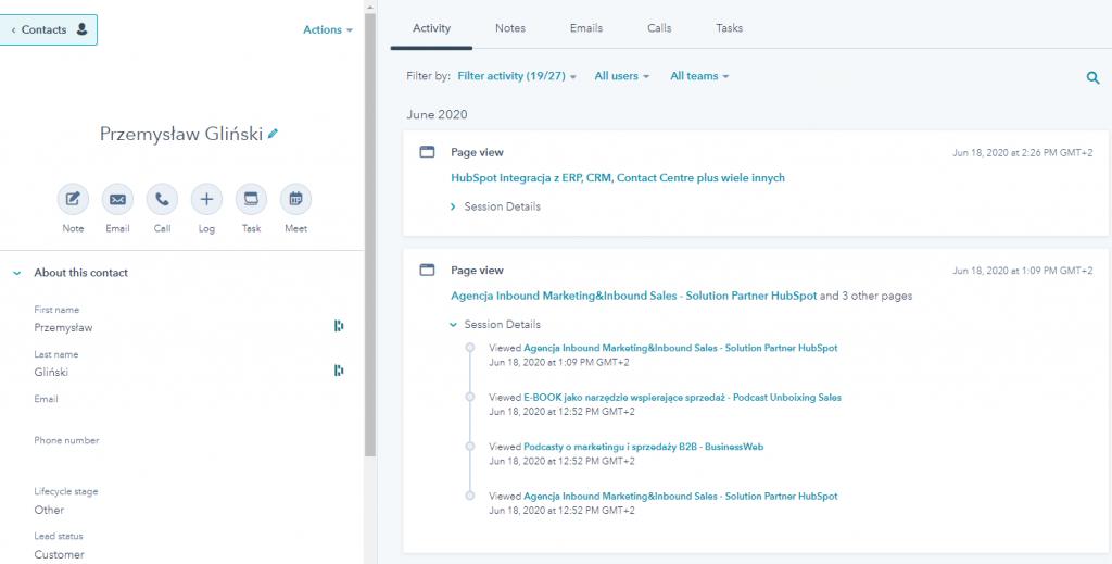 Za pomocą hubspot marketing hub będziesz widział aktywność klienta - jakie strony oglądał, jakie materiały pobierał, co go interesowało na stronie www