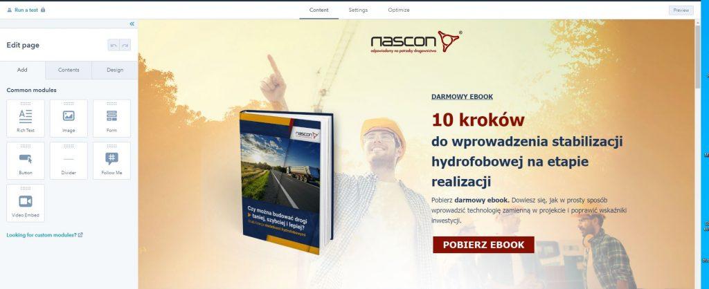 przykład landing page stworzonego w HubSpot Marketing Hub