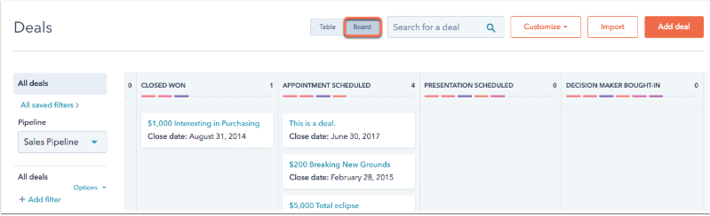 HubSpot deals widok