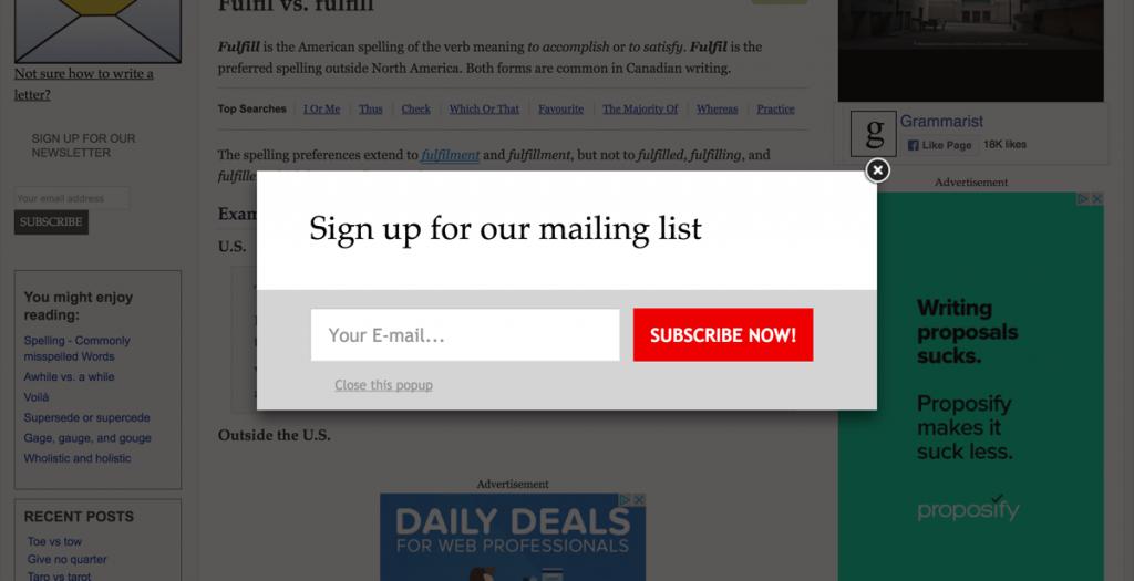 popup na stronie do zbierania email